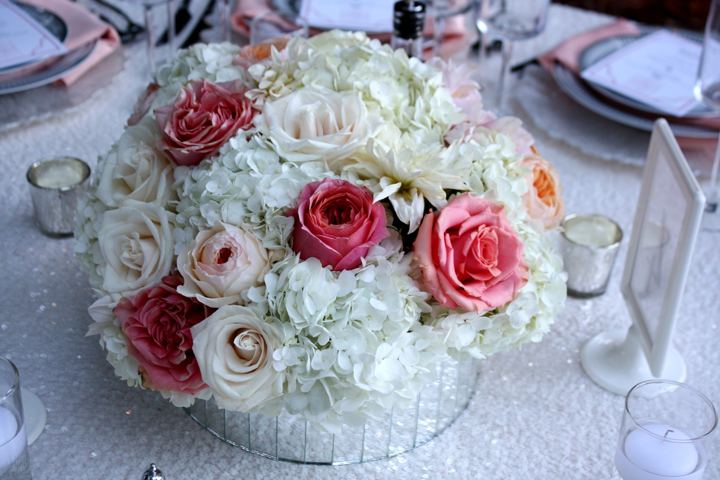 45. mirrored vases, peach + coral wedding, sparkle wedding, sequin wedding, sequin linens, modern & romantic wedding, gorgeous wedding centerpieces.jpg