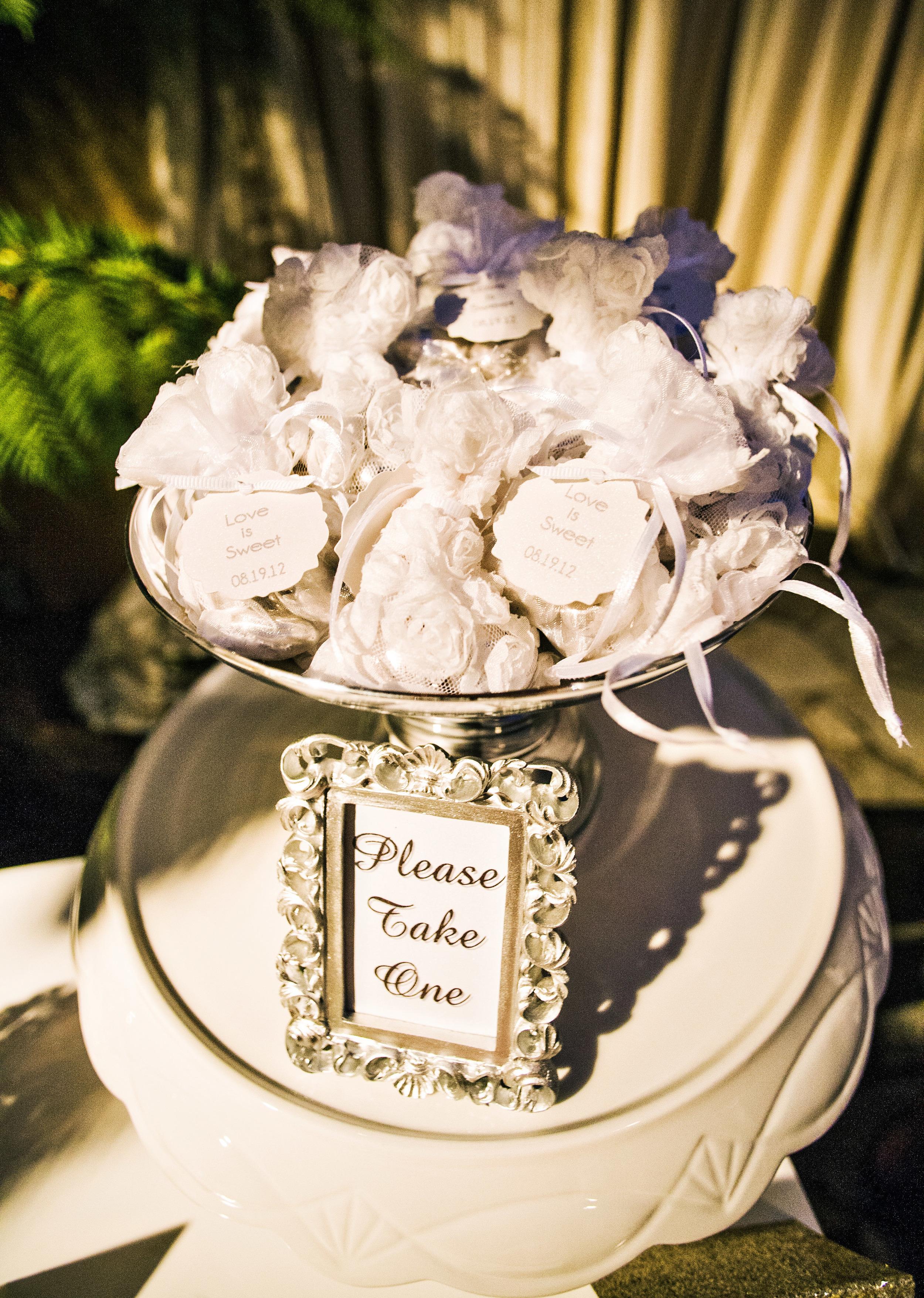 54. RS - silver dragee favors, wedding favors, modern dessert buffet, sparkle wedding, jordan almonds in mesh bags, summer wedding, romantic wedding.jpg