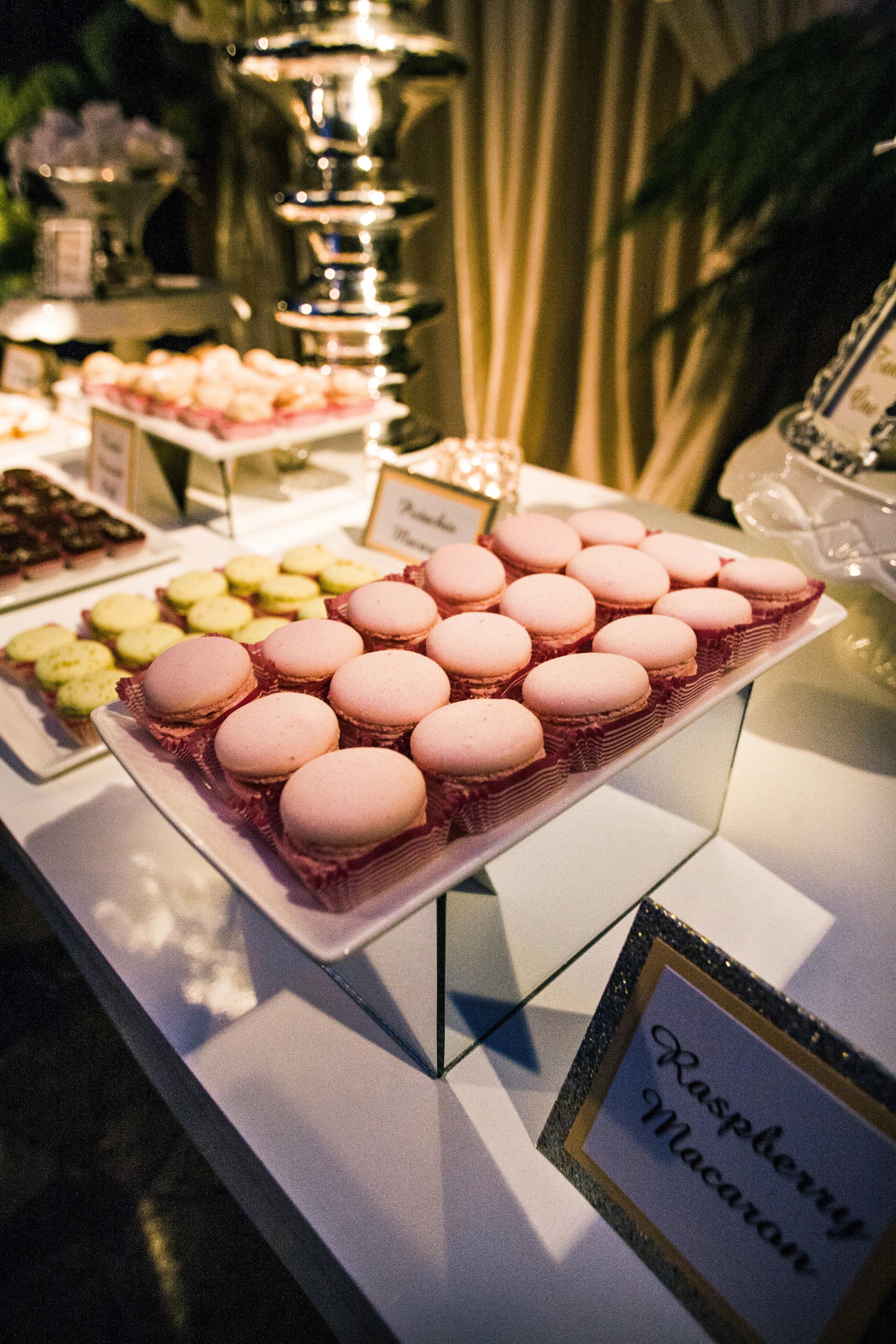 54. LS - pink macaroons, modern dessert buffet, sparkle wedding, wedding dessert buffet, summer wedding, glitter food cards.jpg