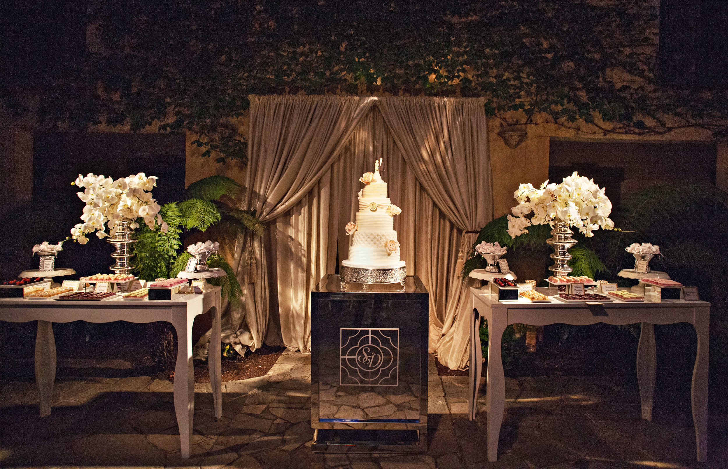55. modern wedding cake, white wedding cake, ruffle wedding cake, tufted wedding cake,, monogram on wedding cake, romantic wedding cake,.jpg