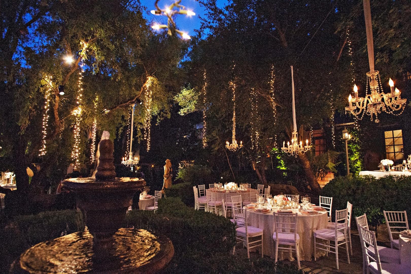 65. hanging fairy lights, modern romantic wedding decor, sparkle wedding, sequin wedding table, peach+coral wedding, crystal chandaliers.jpg