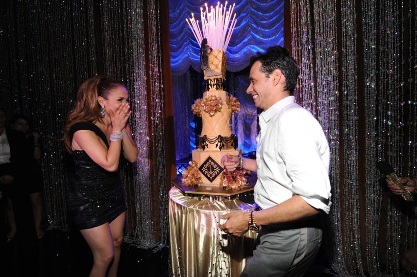22. JLO 40th Birthday, JLO birthday cake, diamond curtain background, silhoutte on cake, gold wedding cake, gold tufted cake, sylvia weinstock.jpg