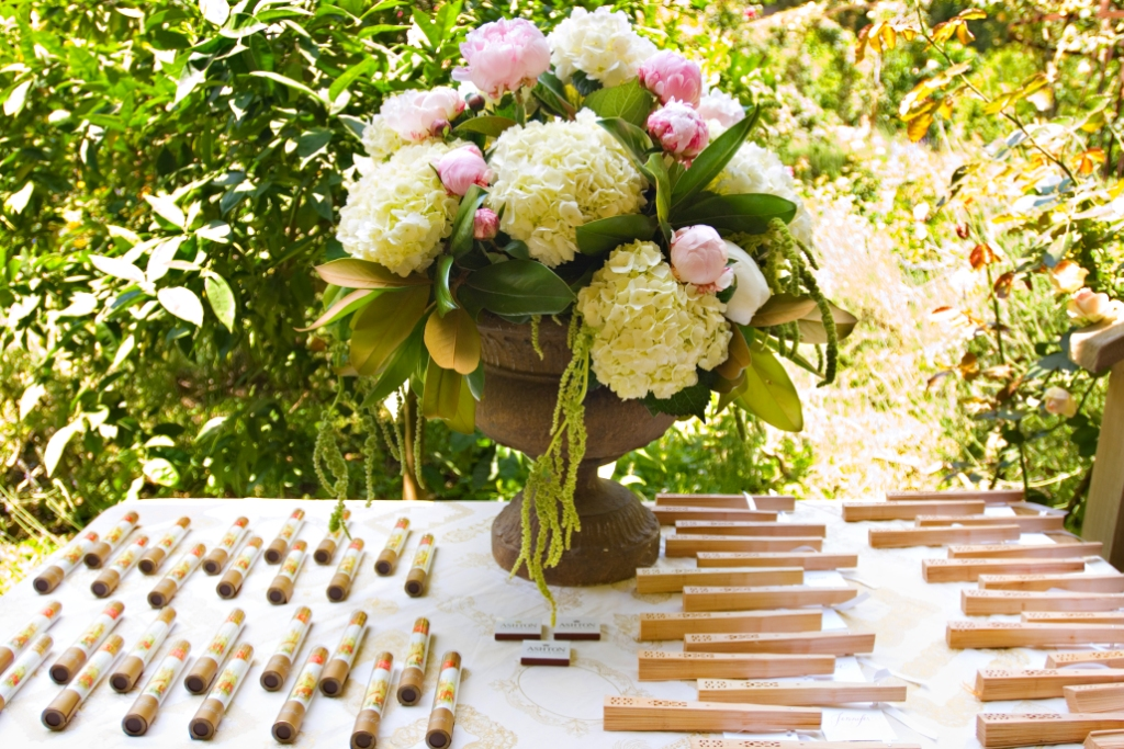 4.Shabby Chic Garden Party, seating card display, cigar place cards, fan place cards, hydreangea+peonies,  & Cigars.jpg