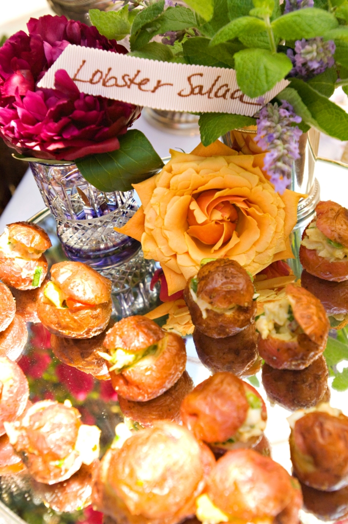 7. right side - Shabby Chic Garden Party, Lobster Salad in Roasted Baby Potatoes. peonies, ribbon buffet cards, antique silver trays.jpg