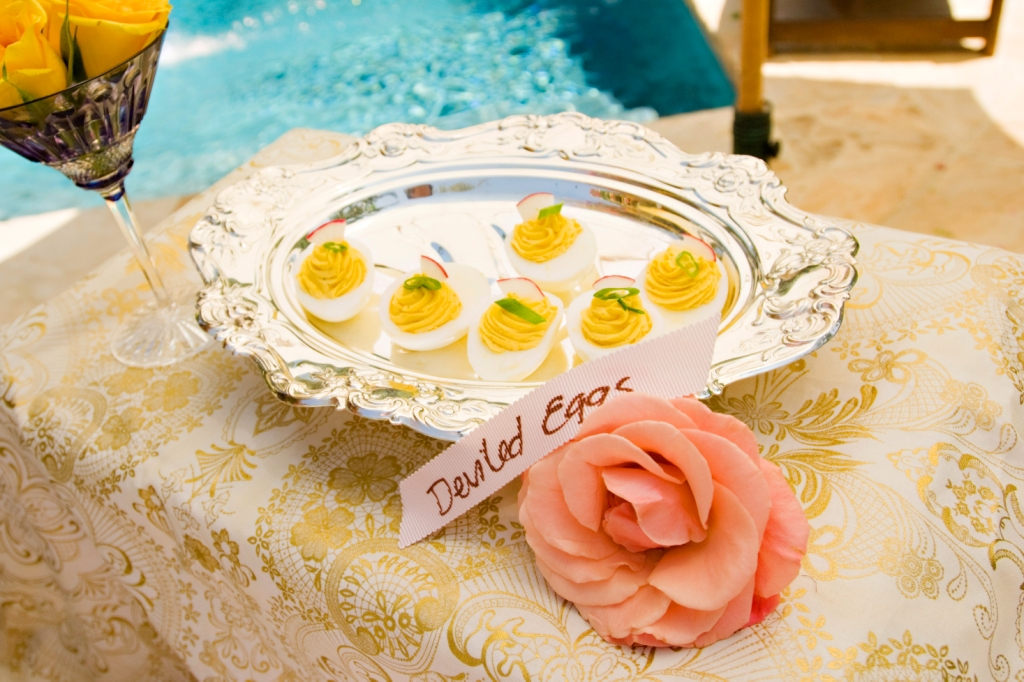 13.shabby chic Garden Party, truffled Delviled Eggs, gold damask linens, antique silver platters,.jpg