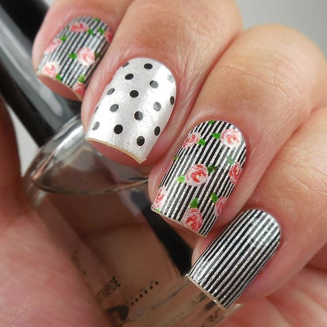 """Sweet Style"" is a floral to last all seasons! Wear this vintage-inspired look of flowers, stripes, and polka dots for a fun weekend! (📷: @oflifeandlacquer) #coconutnailart #incoco #floralnails #walmartstyle"