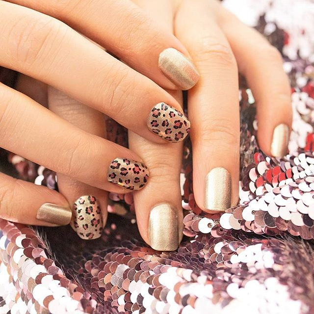 """Steal the Show"" is a leopard and gold showstopper! With with velvet and your favorite knits all fall and winter long. #coconutnailart #incoco #leopardnails"