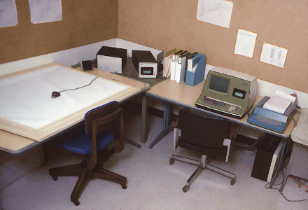 the digitizing room for the gis activities. a wang computer handled the transfer of data to the campus ibm mainframe. data protocols were very primitive and the nightly movement of data was always a stressful operation. note that local data storage was on cassette tapes.