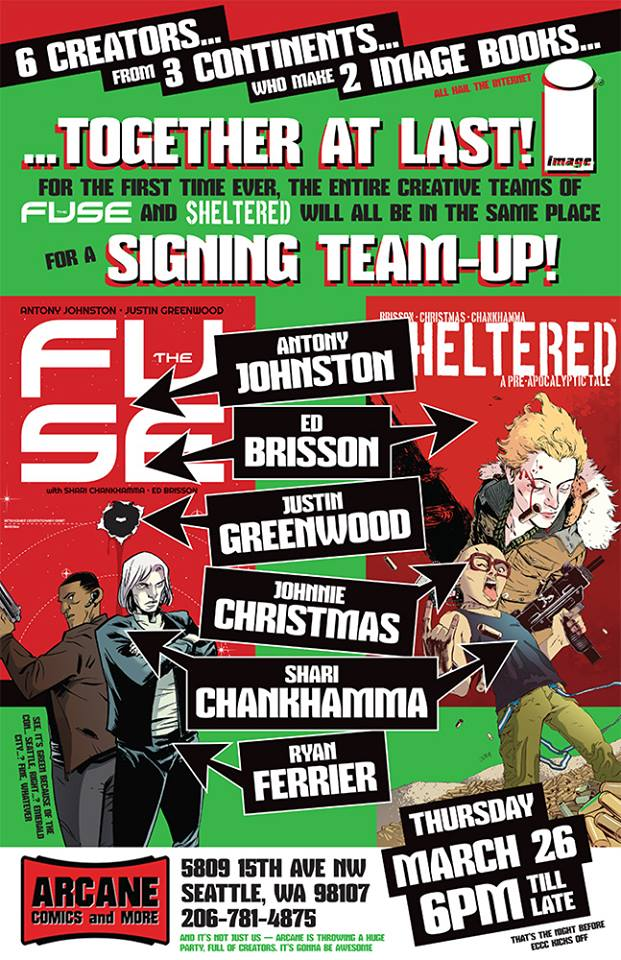imagecomics :   Kick off ECCC with THE FUSE and SHELTERED creators at Arcane Comics on Thursday, March 26 @ 6 p.m.!   Very excited for this! Just one more thing to look forward to around  emeraldcitycomicon .