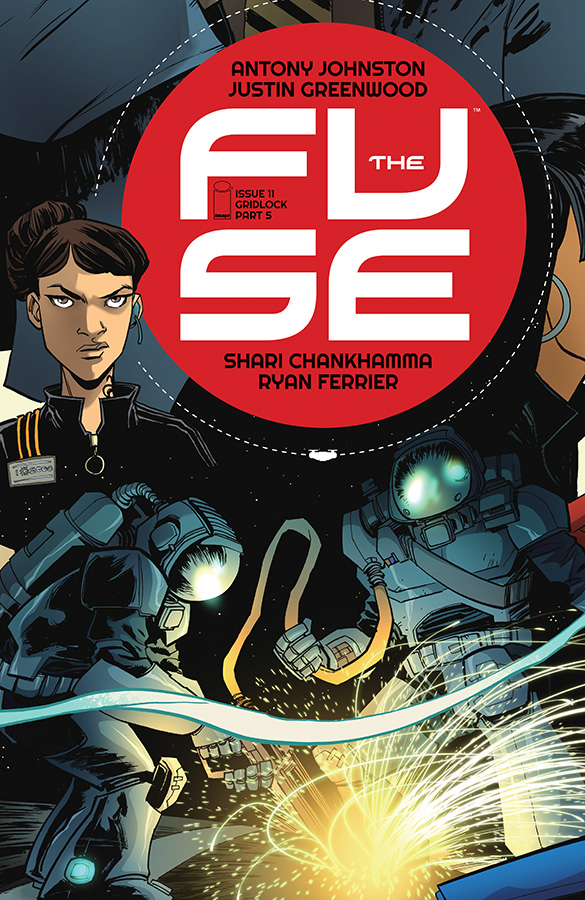 "antonyjohnston :      Image Comics solicits for March are out:       THE FUSE #11     STORY: ANTONY JOHNSTON   ART / COVER: JUSTIN GREENWOOD   MARCH 25 / 32 PAGES / FC / M / $3.50         ""GRIDLOCK,"" Part Five    And so another body drops. Was it the same killer? Oh, please. Don't you know better by now? It's time to figure out what the hell connects gridlocking, drugs, terrorism, and cellphones once and for all!      ""Deserves to be on the Hugo ballot."" — The Angriest       One of my favourite covers so far, this. Love the space welders."