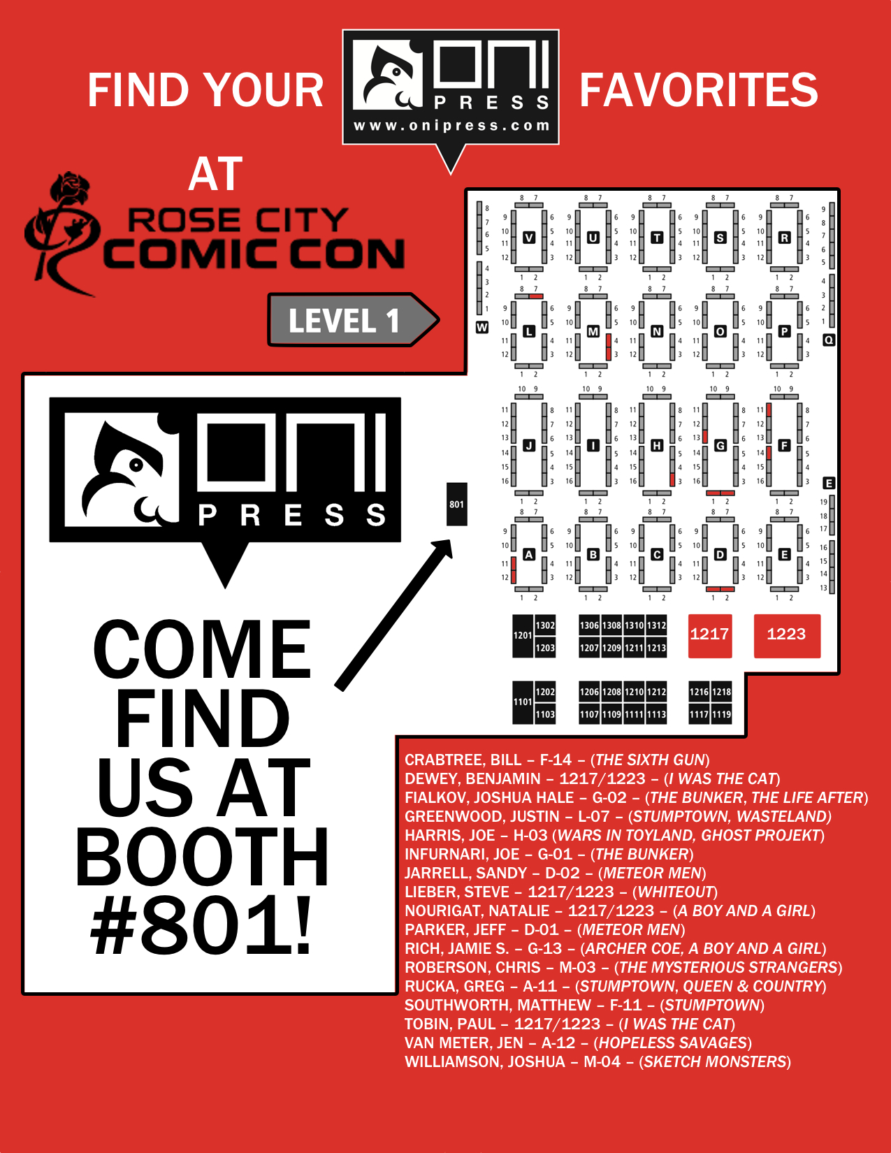 onipress :     Going to Rose City Comic Con this weekend? Here's where to find us and our creators!     Hey that's me at Table L-07! Commit this map to memory and come hunt me down- it's like a treasure hunt but with tons of nerdy at the end.