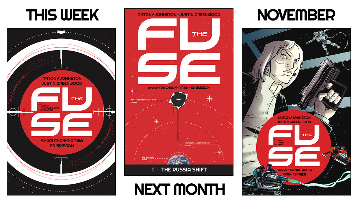 antonyjohnston :     THE FUSE: Issue #6 on sale, London signing, and more   Issue #6 of  THE FUSE  goes on sale this week, bringing our first story arc,  'The Russia Shift' , to its conclusion:     THEIR FIRST CASE — SOLVED! Klem's got it all figured out. But will she live to tell anyone? Can Ralph get to her in time? Who's gonna get shot? And can someone, anyone, please explain why it's called the 'Russia shift'? Well, if you insist…     This is where all the clues get put together, the truth is finally revealed, and Klem and Ralph get to close their first case.   You can  read a preview of the issue on Tumblr  (there's a preview on the usual sites, too, but the tumblr one is longer). The order code for this issue is  MAY140705 .    Then, in a month's time,  THE FUSE Vol 1: The Russia Shift  will go on sale. As you've doubtless figured out, this collects the first story arc in one handy-dandy volume, for the princely sum of just $9.99. (The way the exchange rate is going at the moment, I think that comes to about 50p.)   The comic store order code for Vol 1 is  JUN140504 , and the ISBN for bookstores is  978-1632150080 .     • I'll also be  appearing at Forbidden Planet London on Saturday Aug 30  to sign copies of THE FUSE VOl 1 — and we'll have some exclusive giveaways for readers (including  UMBRAL  readers, too). I'll post more about that closer to the time.     Finally, in November THE FUSE will return with issue #7, and a brand new case;  Gridlock !   'Gridlocking' is an illegal sport where racers speed across the Fuse's vast solar arrays on magnetic bikes; and when the sport's top racer turns up dead, Klem and Ralph find themselves drawn into a surprisingly murky world of speed, egos, and drugs…   Issue #7 is on sale November 5, and in addition to the fantastic regular cover from Justin that you see here, we'll also have a special variant from the brush of  the amazing Jenny Frison, of REVIVAL fame ! We're very excited about that, and we hope you will be, too