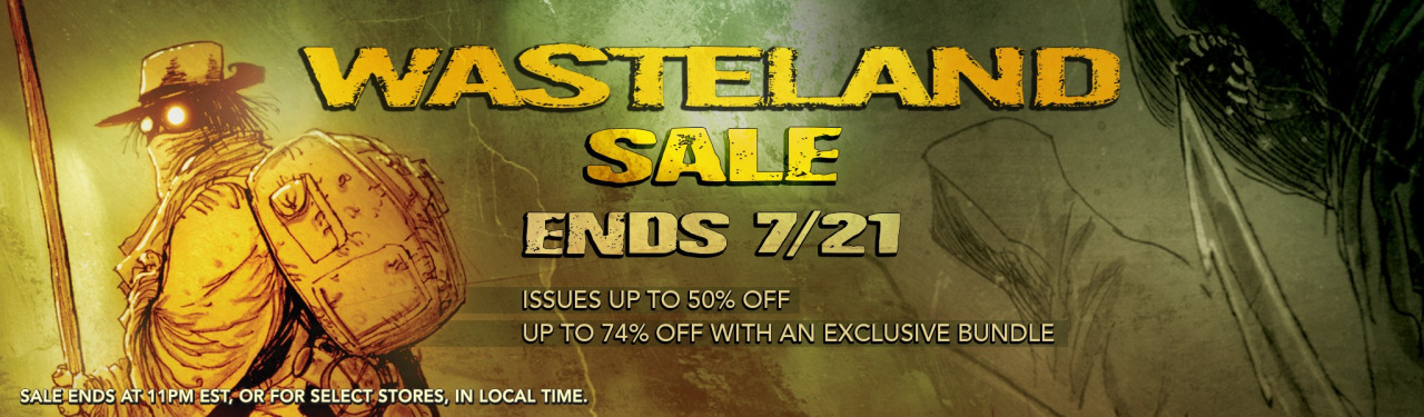 antonyjohnston :     If you've ever wanted to get into  WASTELAND , the book Chris Mitten and I created together before  UMBRAL , this is by far the cheapest way I've ever seen:    Comixology are having a massive sale,  $0.99 per issue or the first 50 issues for $24.99 . That's 50 cents per issue, insanely cheap.      What a killer deal! If you've been waiting to check this book out, there's never been a better time.