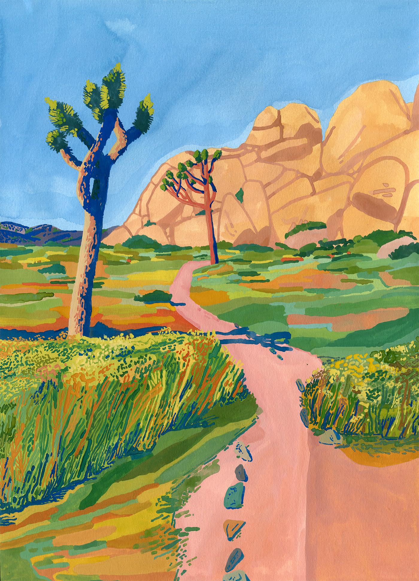 Hidden Valley 2,  Gouache on paper, 2019, 15x11 in