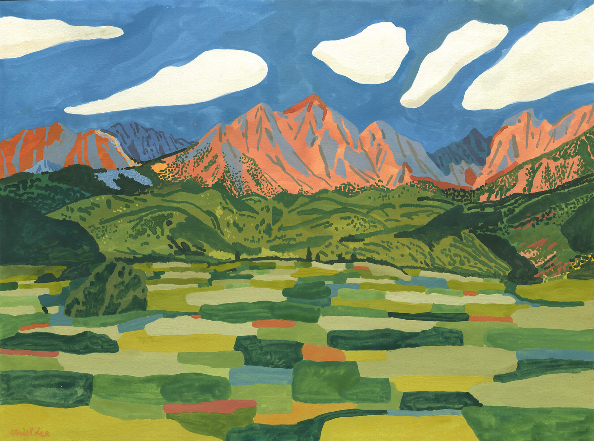 In The Summertime, I Can See The Mountains , Gouache on paper, 2019, 11x15 in