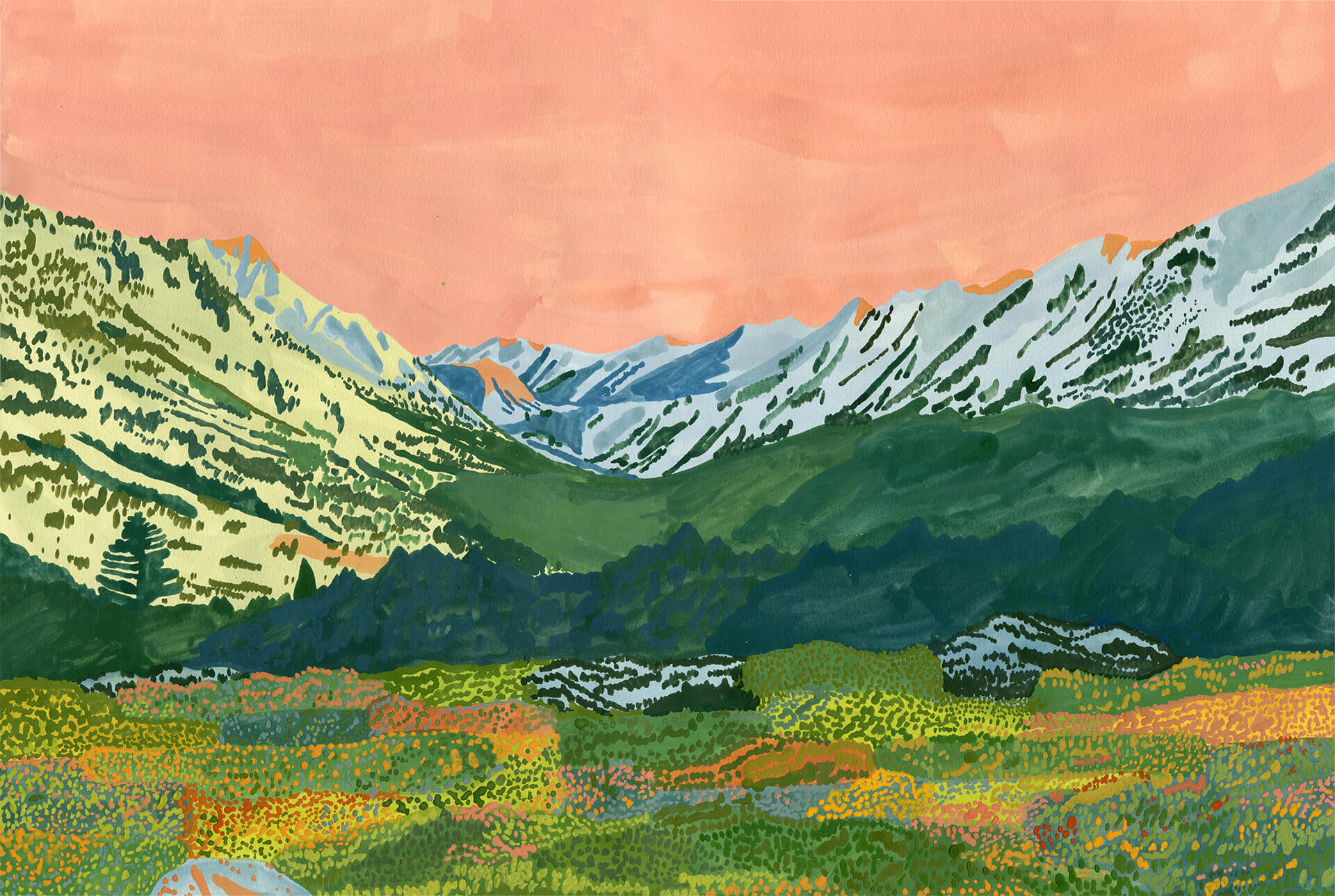 Alpine Glow In The Valley , Gouache on paper, 2019, 15x22 in