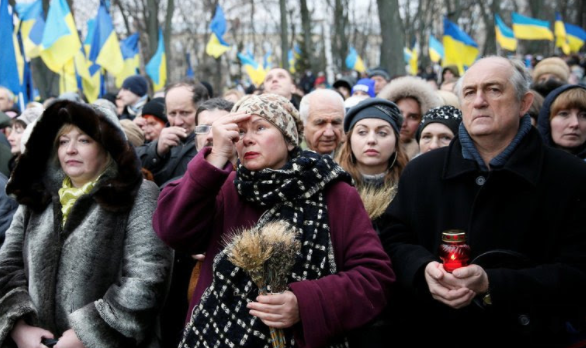 People gathered to honor Stalin's victims at a ceremony in Kiev, Ukraine, last year.