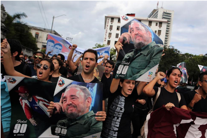 Young Cubans gather on Nov 26, 2016, at Havana University to remember Castro. Photo: Alejandro Ernesto/EPA