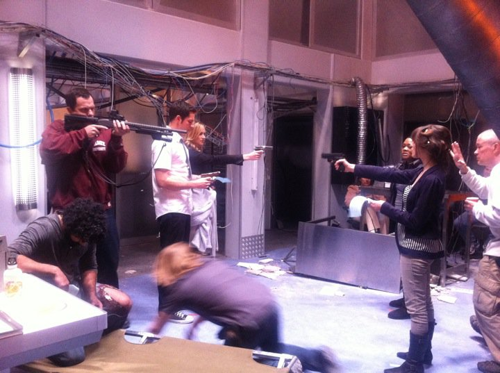 "Rehearsal on the set of ""Chuck"""
