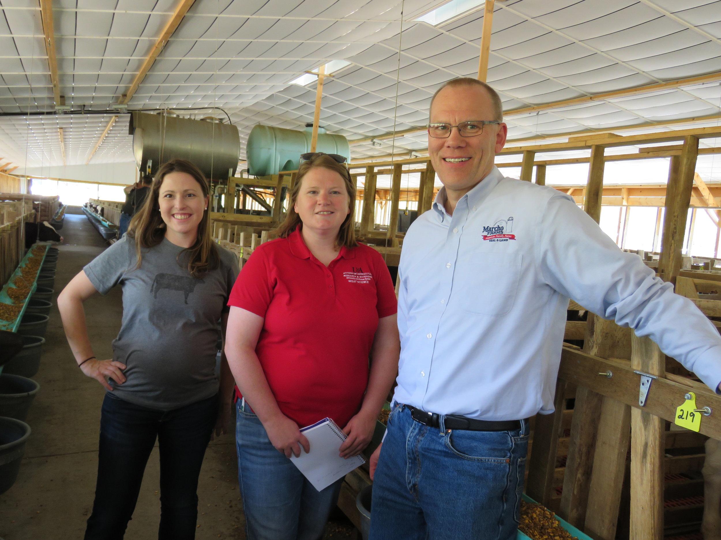 Krista Stauffer, The Farmer's Wifee, Janeal Yancey, PhD, University of Arkansas, Dale Bakke, President of the American Veal Association