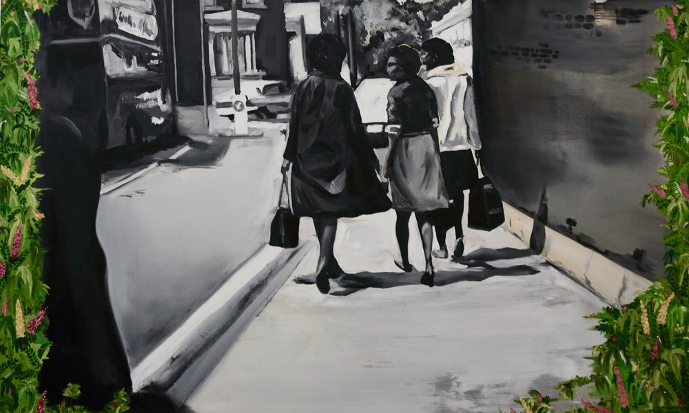 Micheala Yearwood-Dan,  Working Girls , oil on canvas, 2018.
