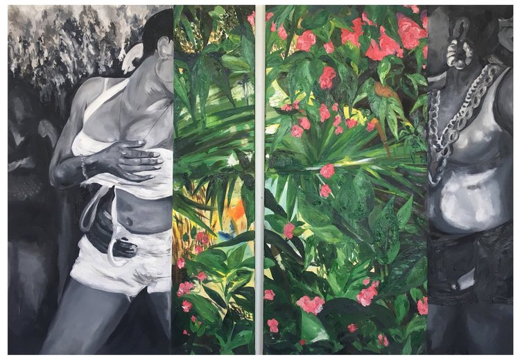 Michaela Yearwood-Dan,  J'Ouvert , diptych, oil on canvas, 2018.