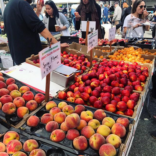 Early summer treats! #farmersmarket #summer #fruits #peaches #support #local #farmers @cuesa @homage @balakianfarms @kjorchards