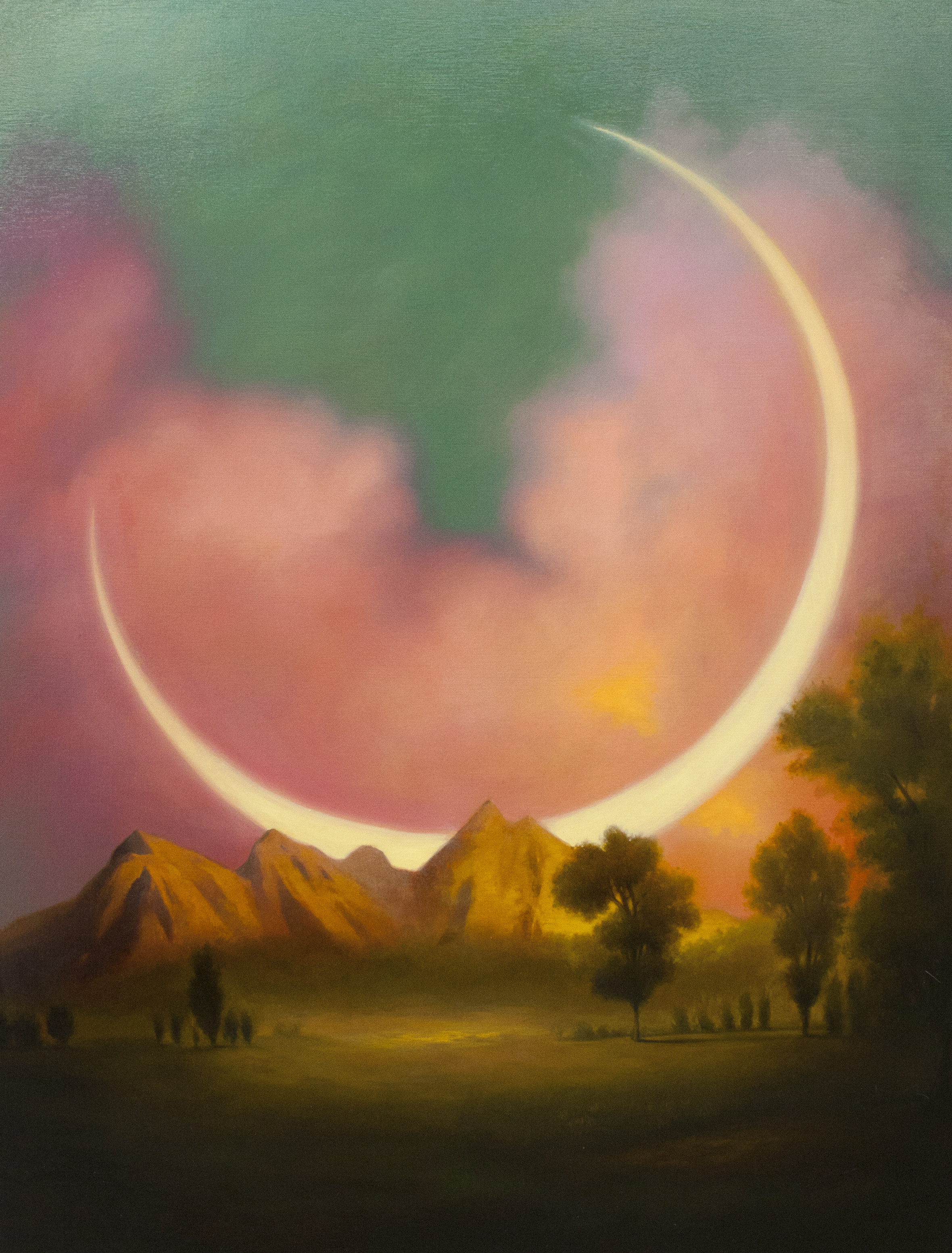 Work from Megan's most recent show, Artificial Kingdoms. Moonrise, 30x40 In, Oil on canvas.