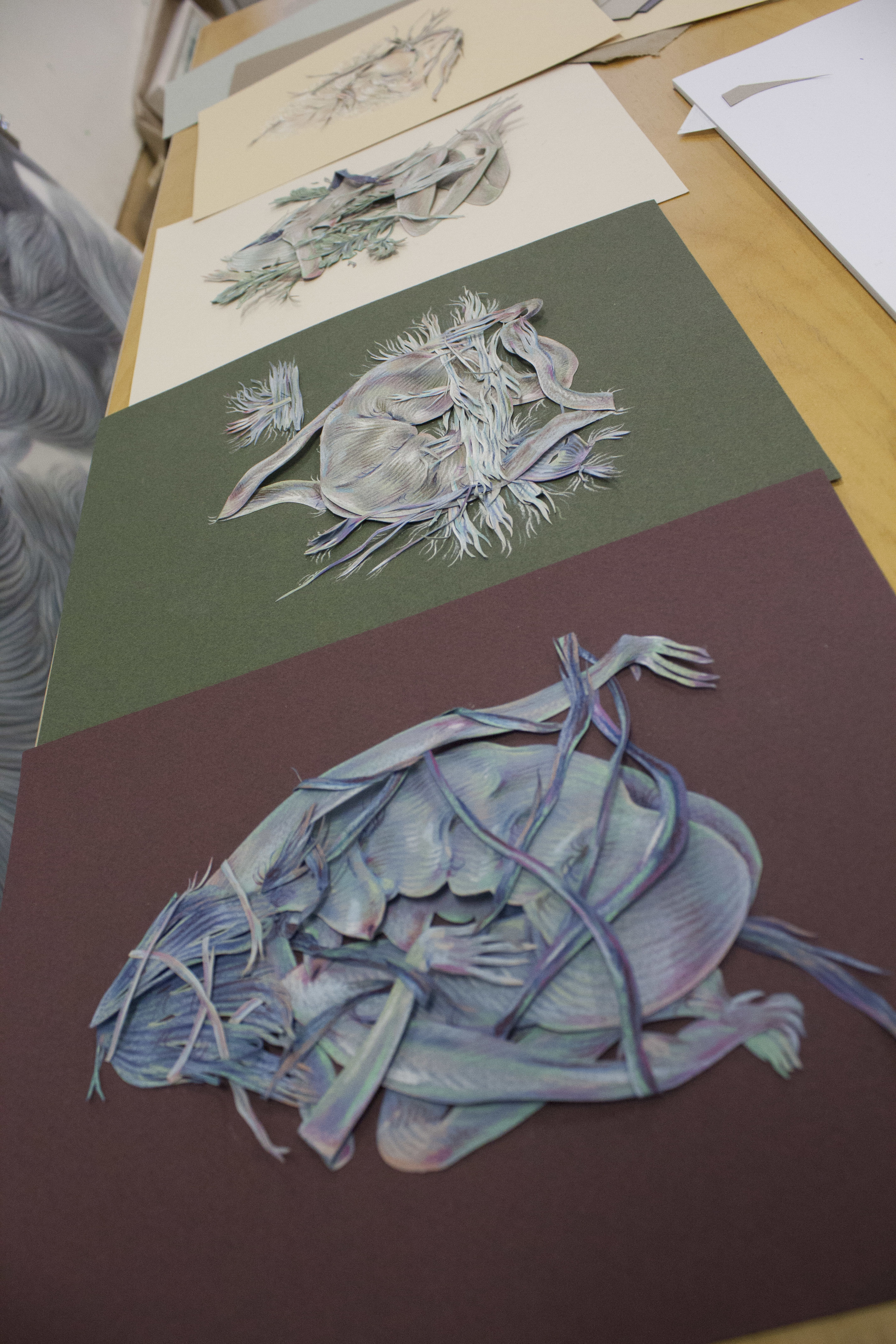 Outtakes from the paper cuts show at ESP gallery.