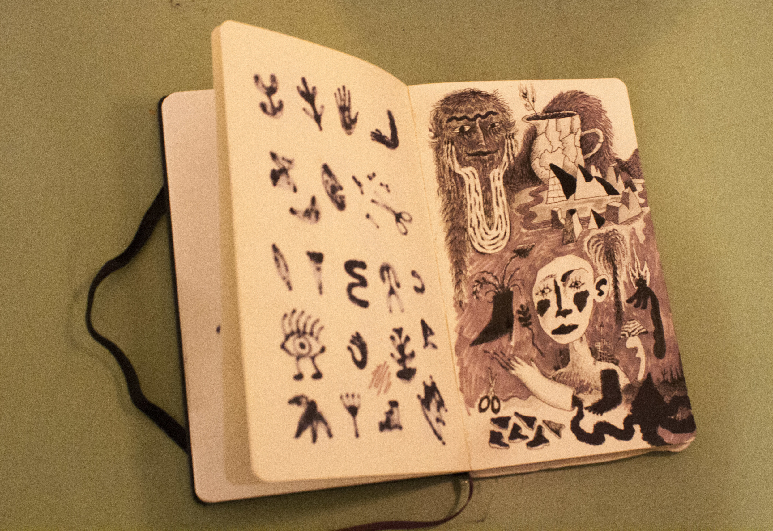 Juliana's current sketchbook. She fills up about 5-6 of these per year.