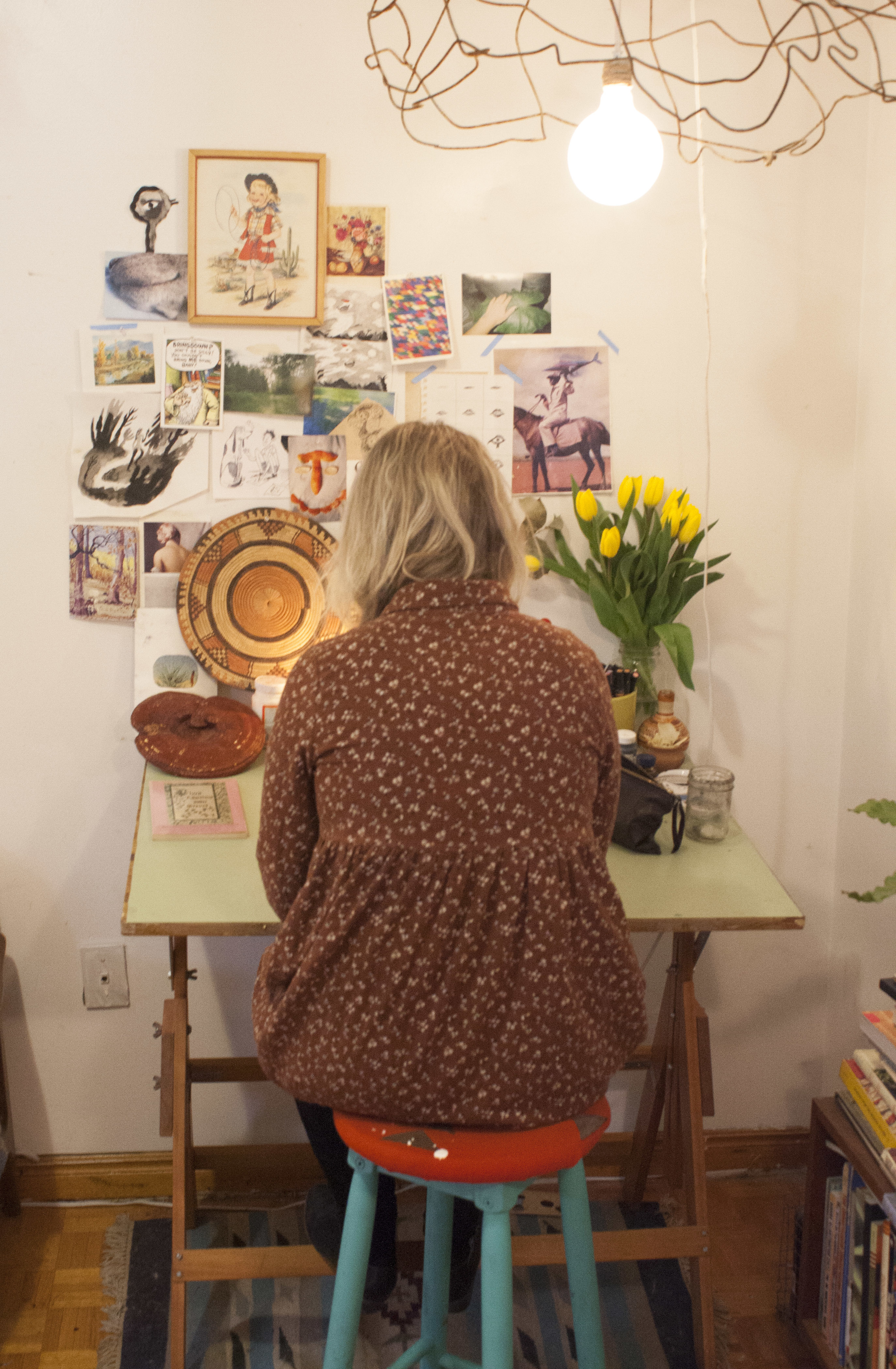 The second component of Juliana's studio: The drawing desk.