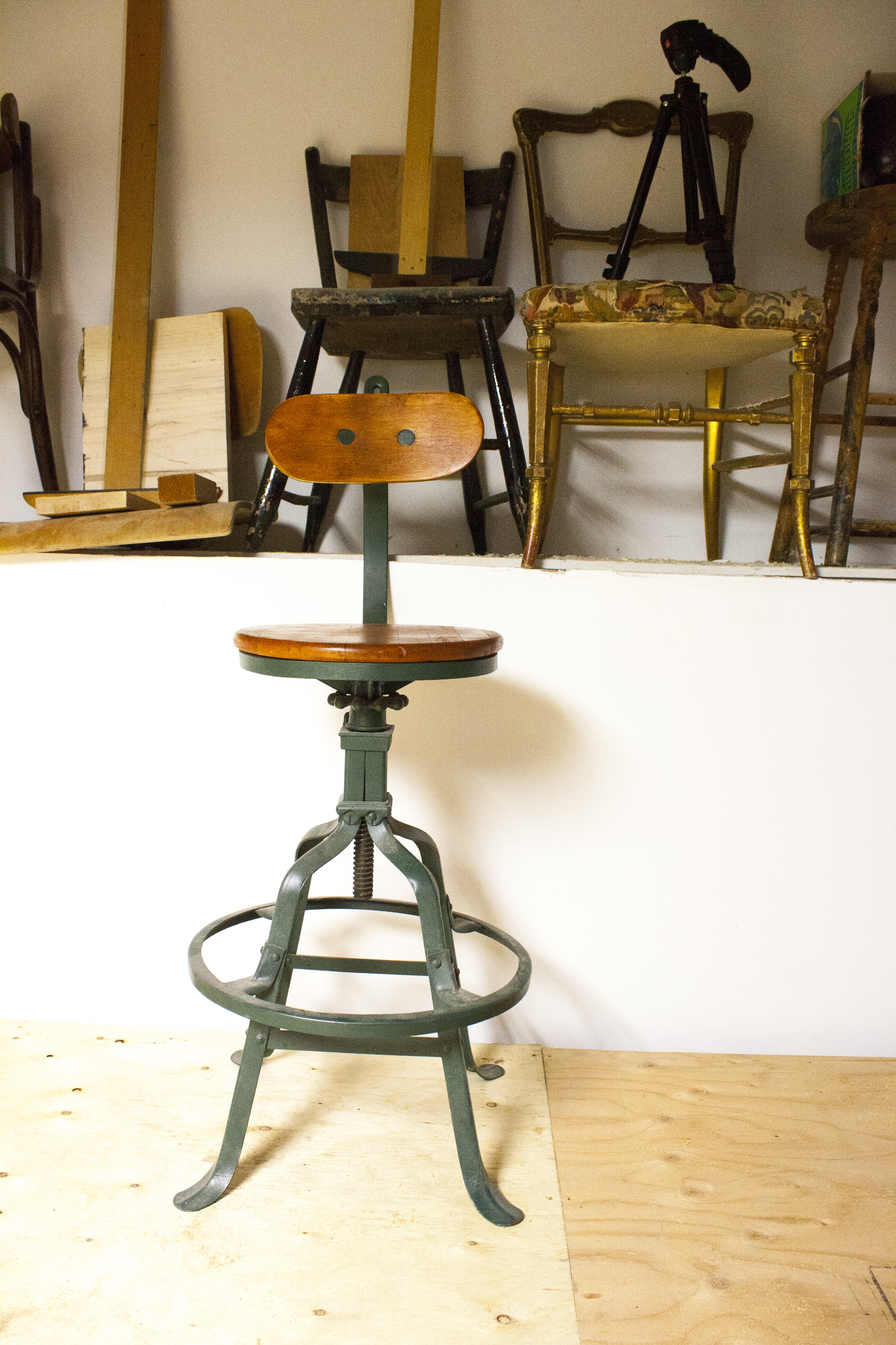 This industrial chair is one of Markian's father's orginal drafting chairs from the 1970's. Like father, like son.
