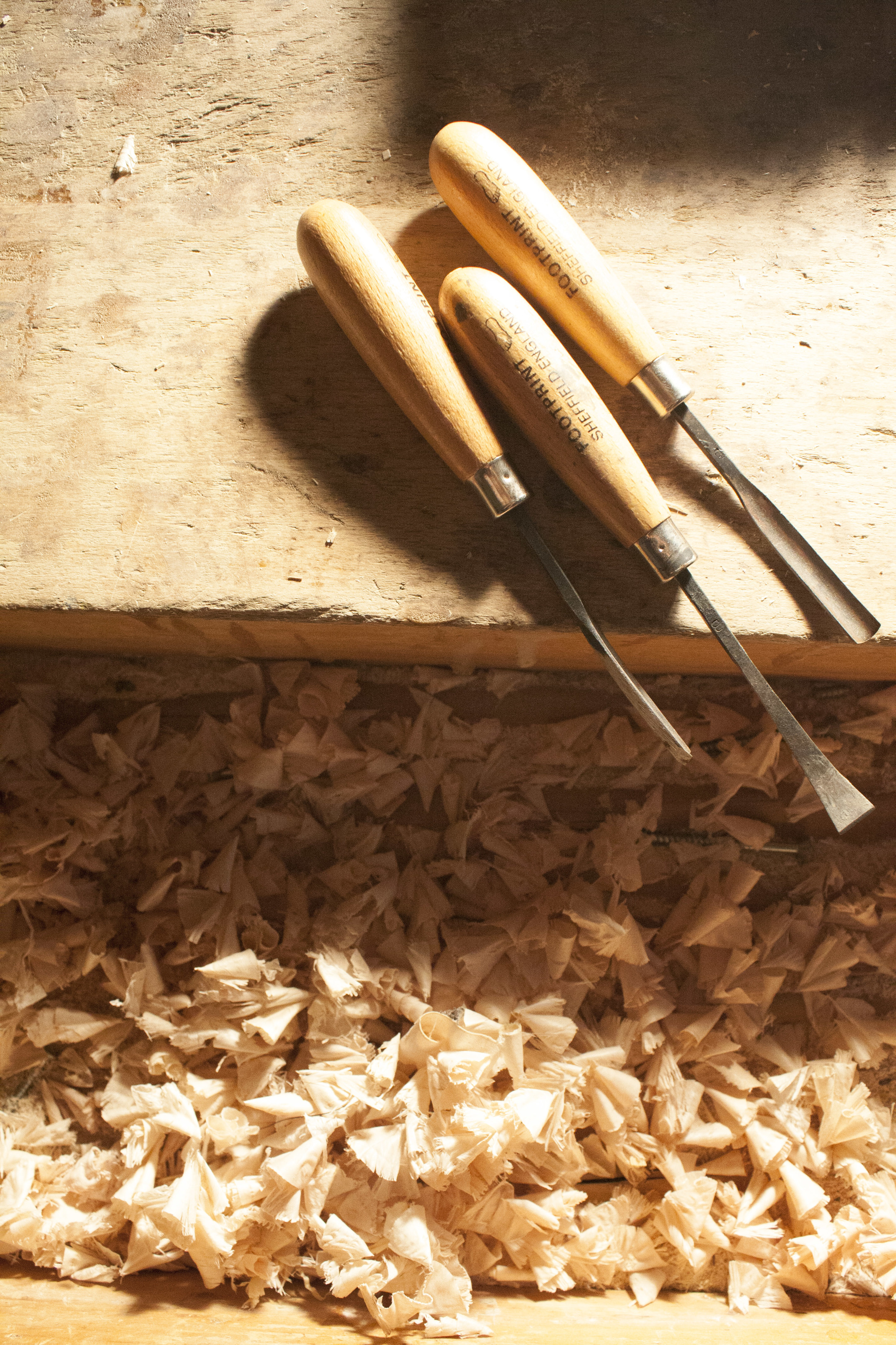 Chisels and shavings.