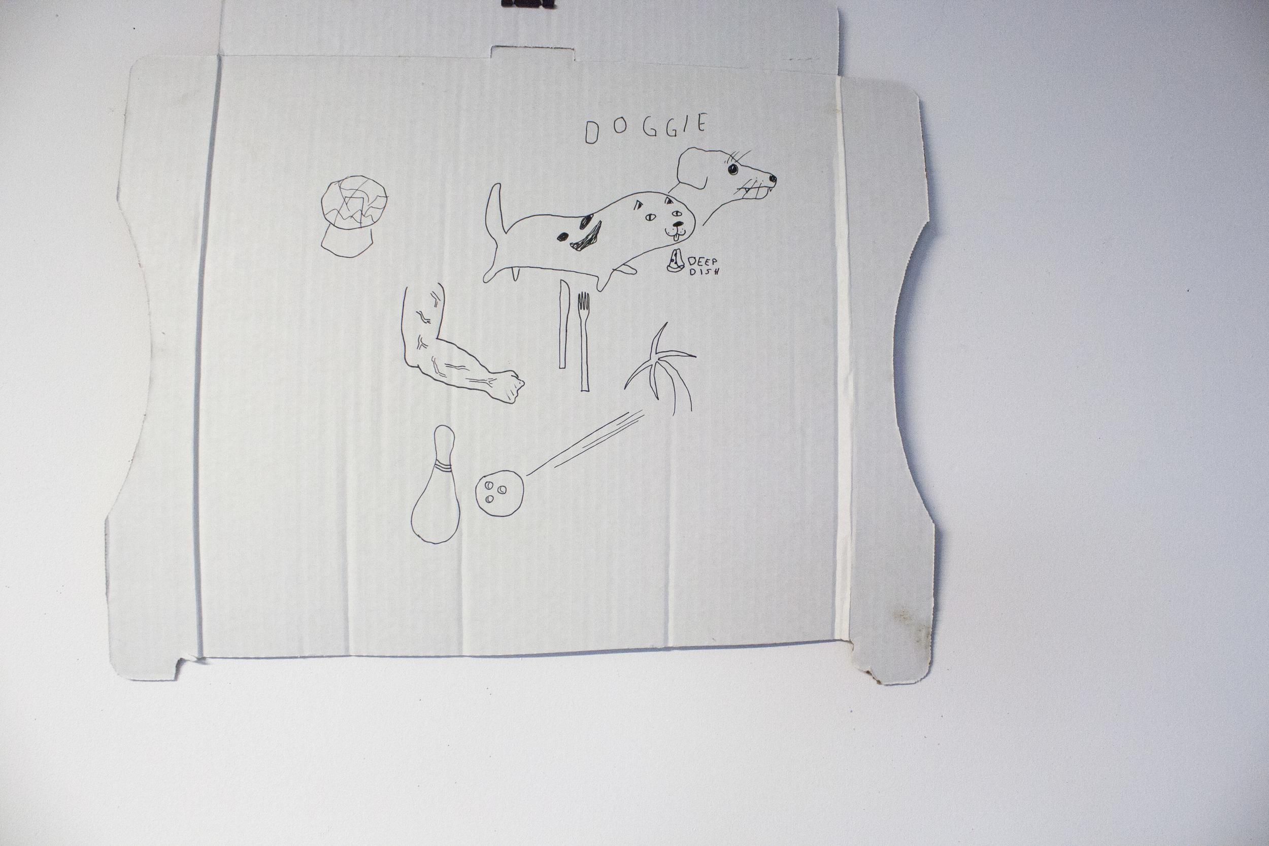 Pizza box drawing by artist Matt Davey