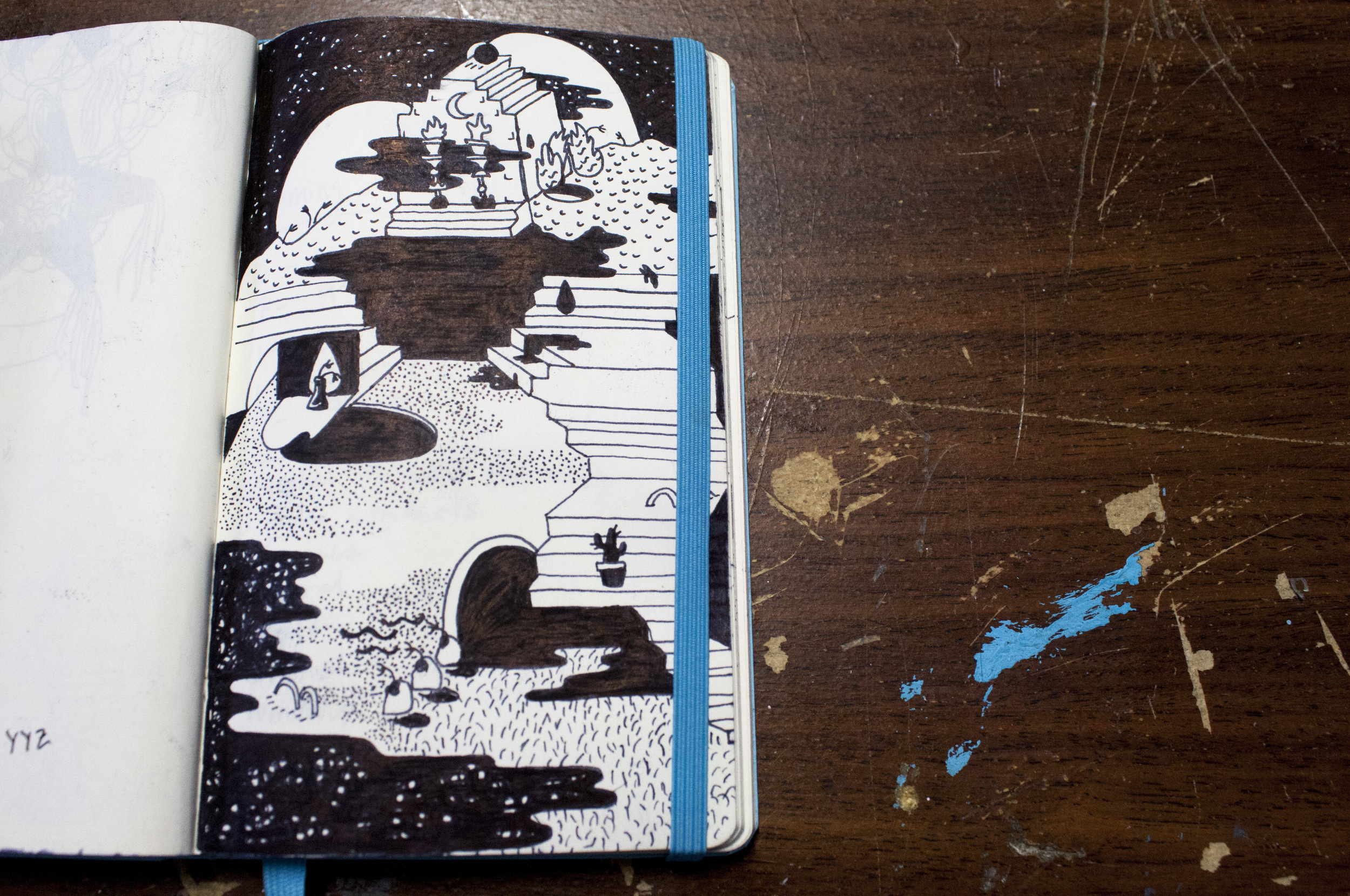 Pages from diana's notebook, this one is a study for a large mural from 2015.