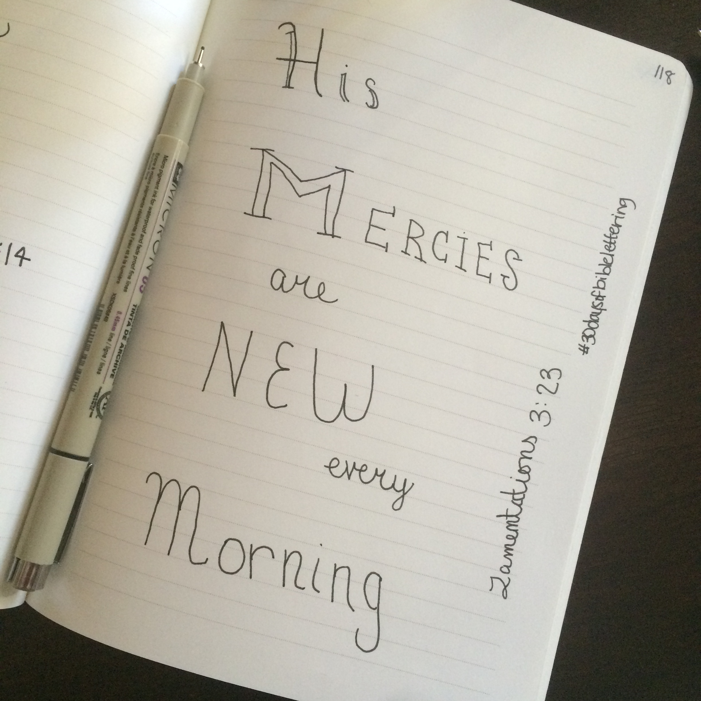 Lamentations 3:23 was the verse for day four! In line with taking this lightly, I skipped days two and three!