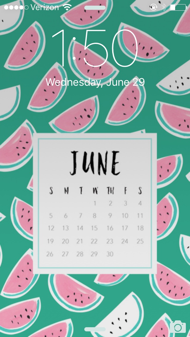 Here is a screenshot of my phone's lock screen with May Designs' June background!