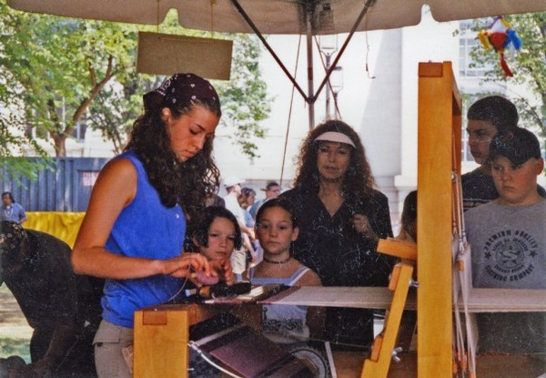 "Weaving for onlookers at the Smithsonian Folklife Festival's ""El Río"" exhibition in Washington, D.C., 2000"