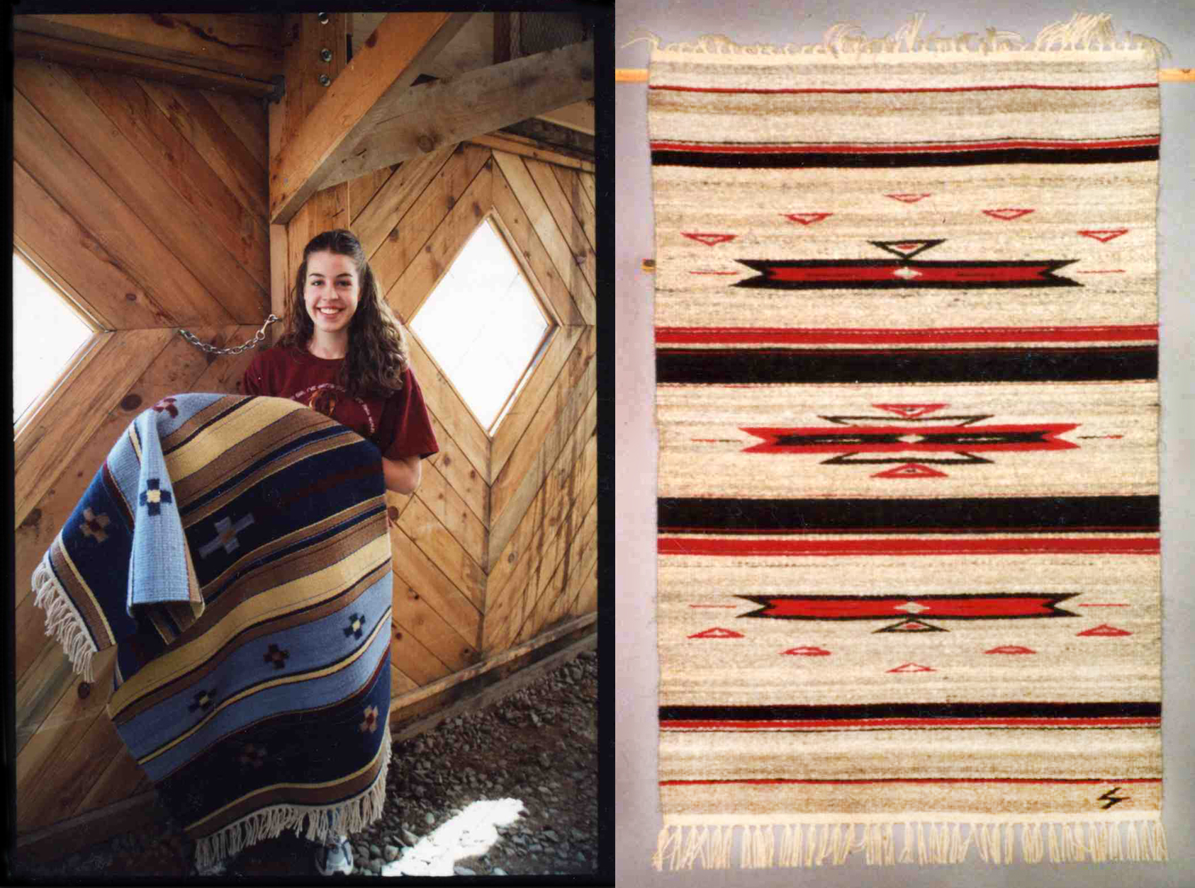 3′ x 5′ rug-weight wool blankets – just two of hundreds woven over a period of seven years. Left: Blue and tan crosses in a palette inspired by the New Mexico landscape, handwoven with Rambouillet yarn. Right: Naturally dyed Cochineal red with natural black and gray Navajo Churro yarn