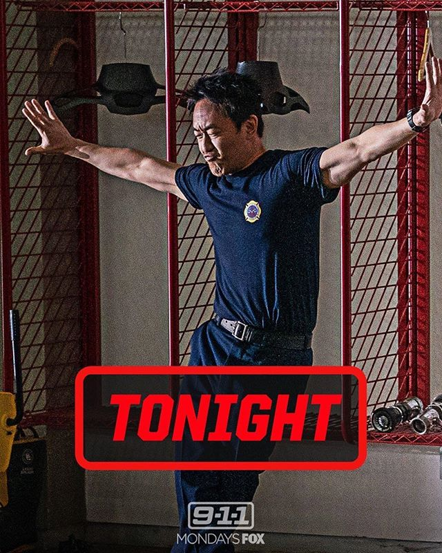 This is a special one tonight on @911onfox. Pumped to work w dancing #KennyChoi 🕺🏻@kelvinhanyee #fredafohshen  see you at 9/8c on @foxtv #911 #ChimneyBegins #firefighters #firstresponders #actors #AsianAmericanactors ✊🏼