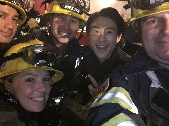 🚨Was lucky enough to work with the Real Deal brave men and women of the #LAFD on last night's @911onfox. When there's an emergency and people run scared, first responders run *towards* the danger. I've called 9-1-1 myself a few times over the years in some scary situations... and their training, heroism, bravery, and dedication cannot be over stated... putting their lives at risk to save our own. • 👨🏼‍🚒Got to wear just a fraction of the gear and weight that they run into burning buildings with and it is no joke. Really humbled to collaborate with them on this one. Thank you so much for your service. And for having us at one of the actual LAFD training facilities🙏🏼