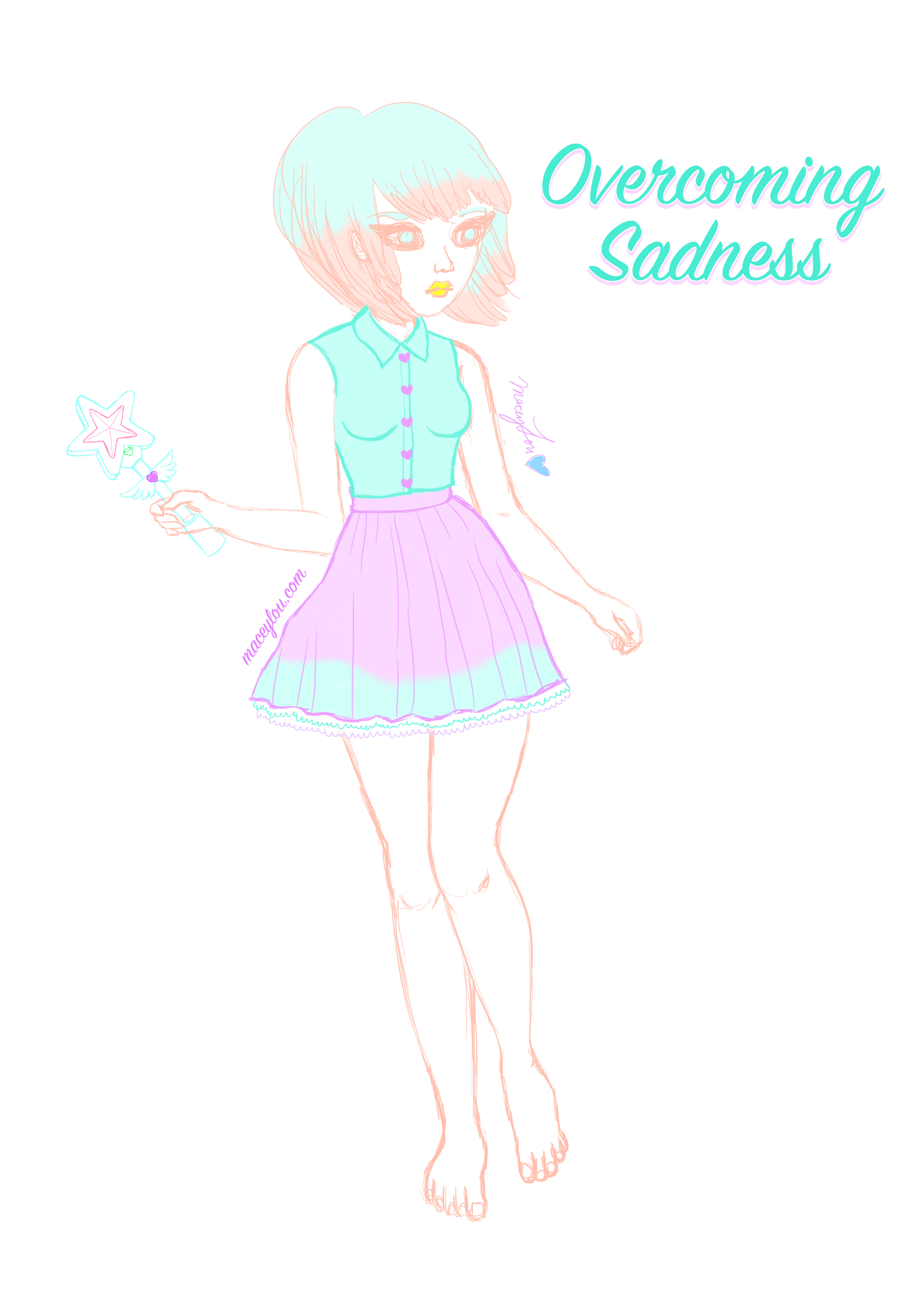 Kawaii girl overcoming sadness blog post image main maceylou illustration art.jpg
