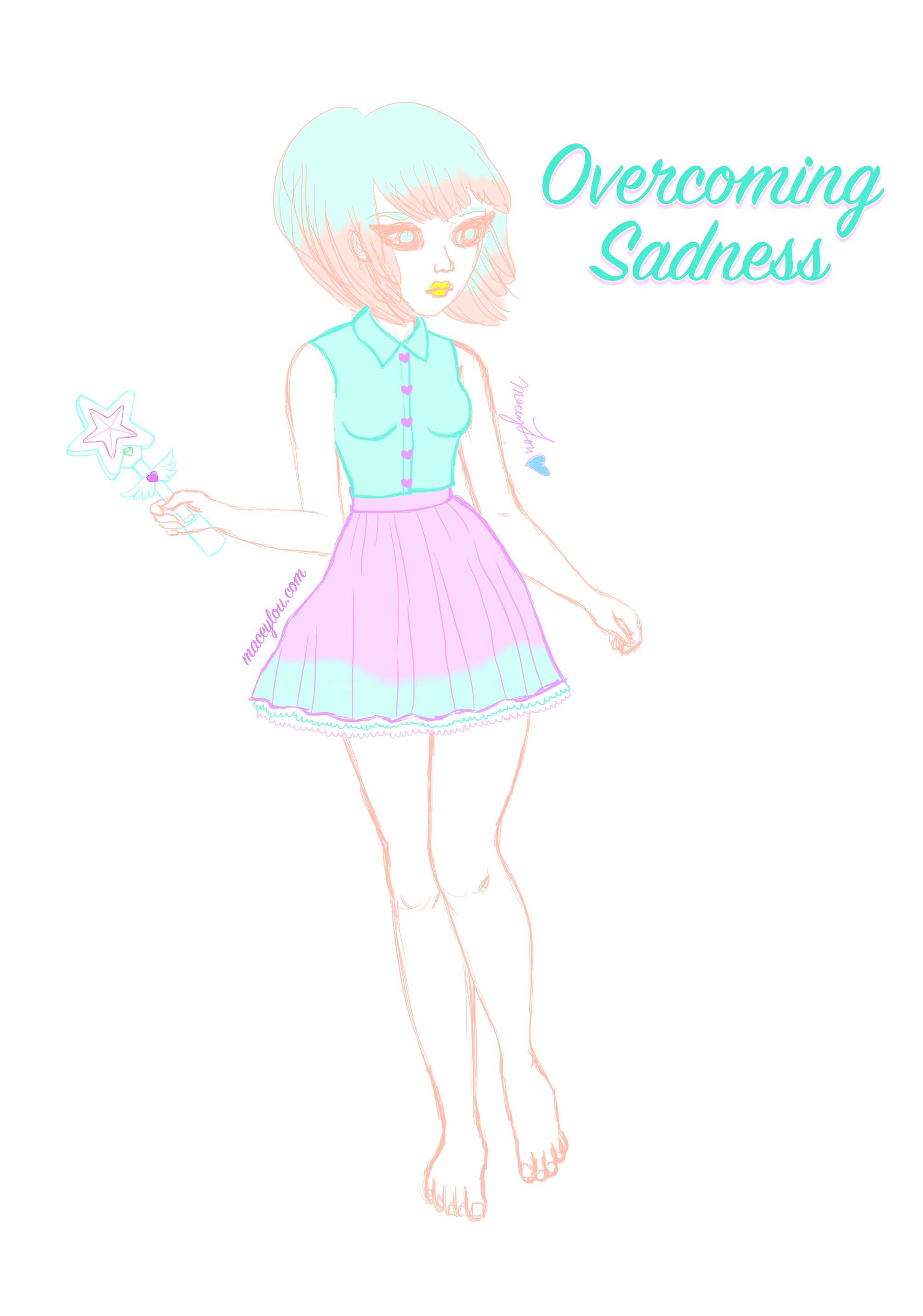 Kawaii girl overcoming sadness blog post image main maceylou illustration art.jpg