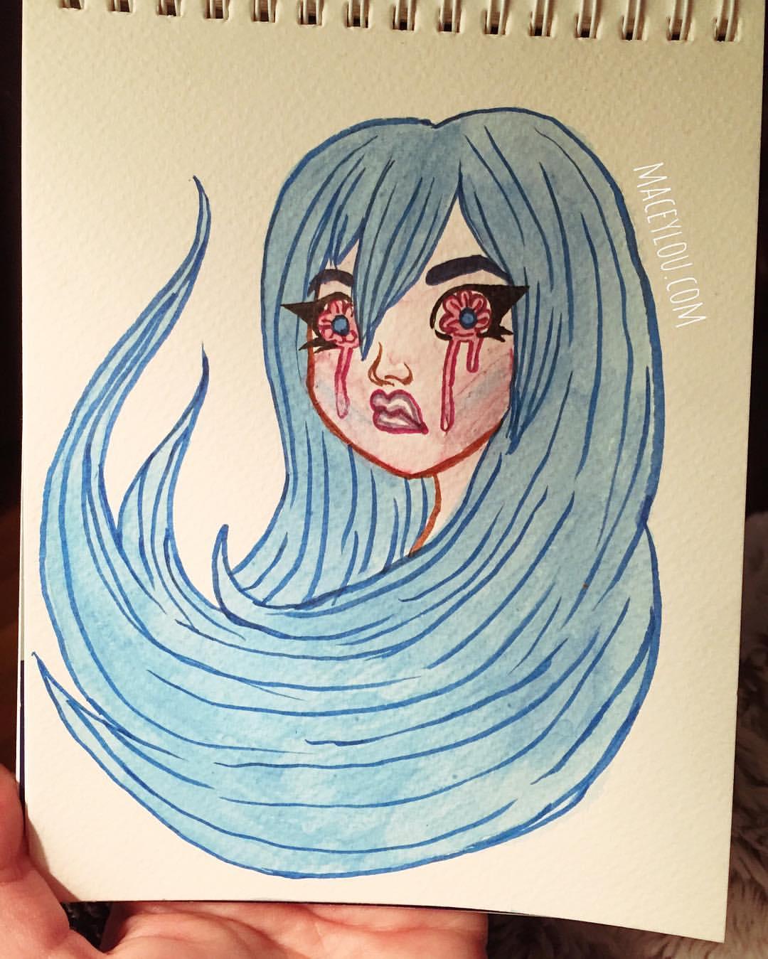sad loss family tears crybaby cry baby crying girl kawaii cute pretty blue hair watercolor illustration painting.jpg