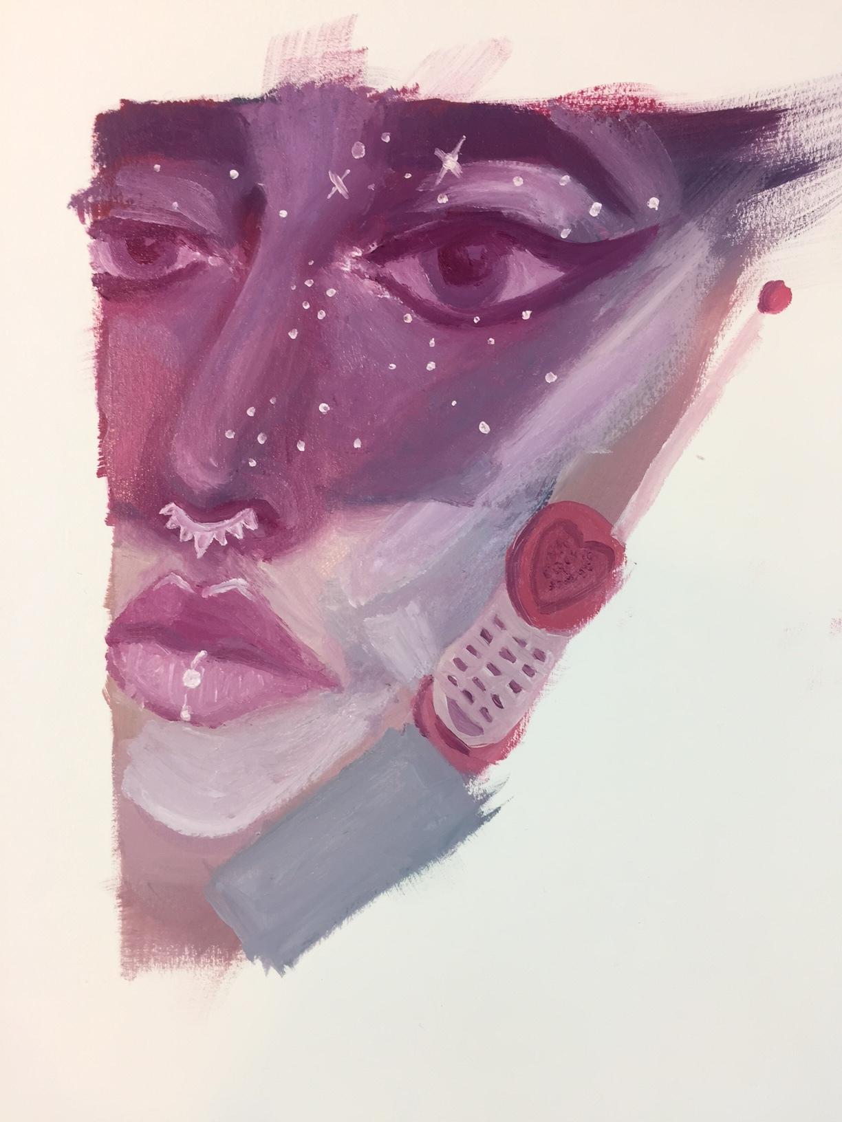 oil painting maceylou gesso sketchbook 80's 90's kawaii barbie phone stars
