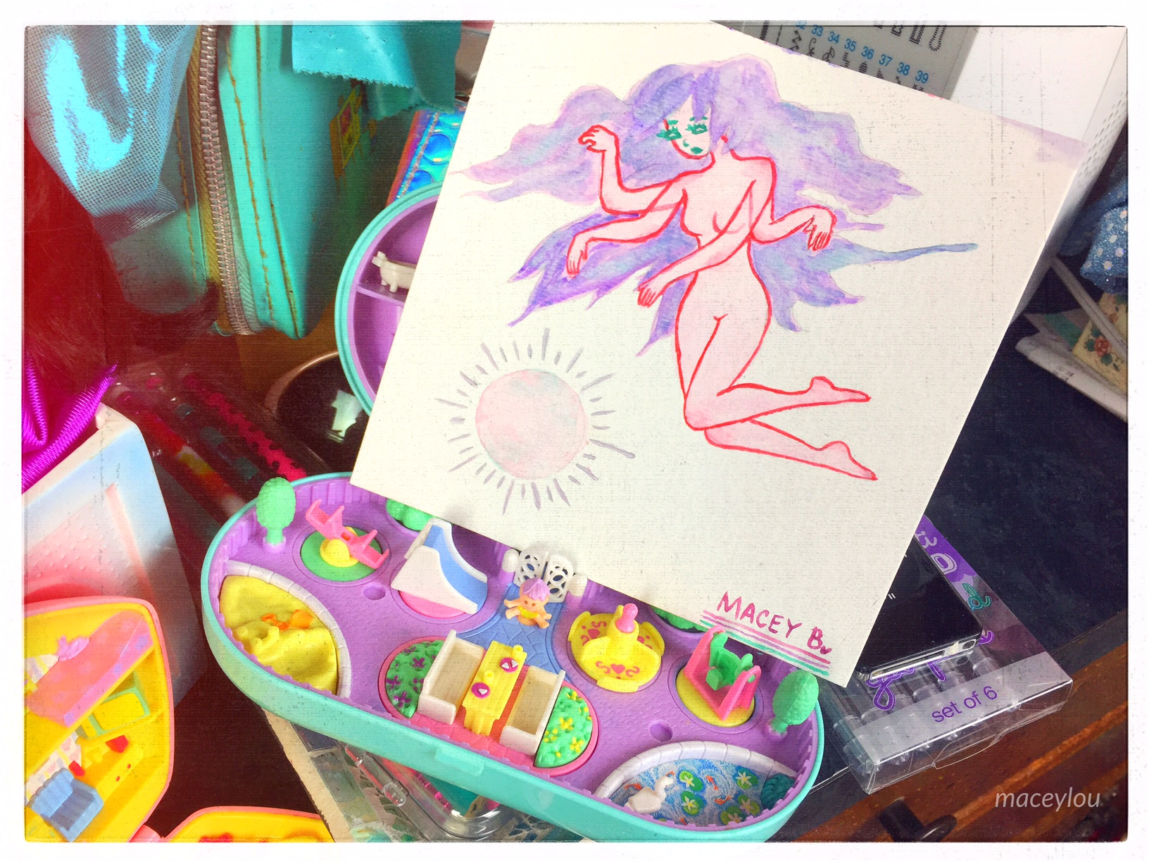 ghost girl kawaii cute sexy full body watercolor small painting maceylou