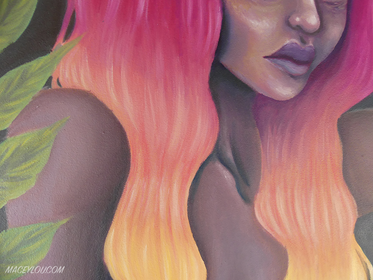 femme flame oil painting up close of hair and leaves