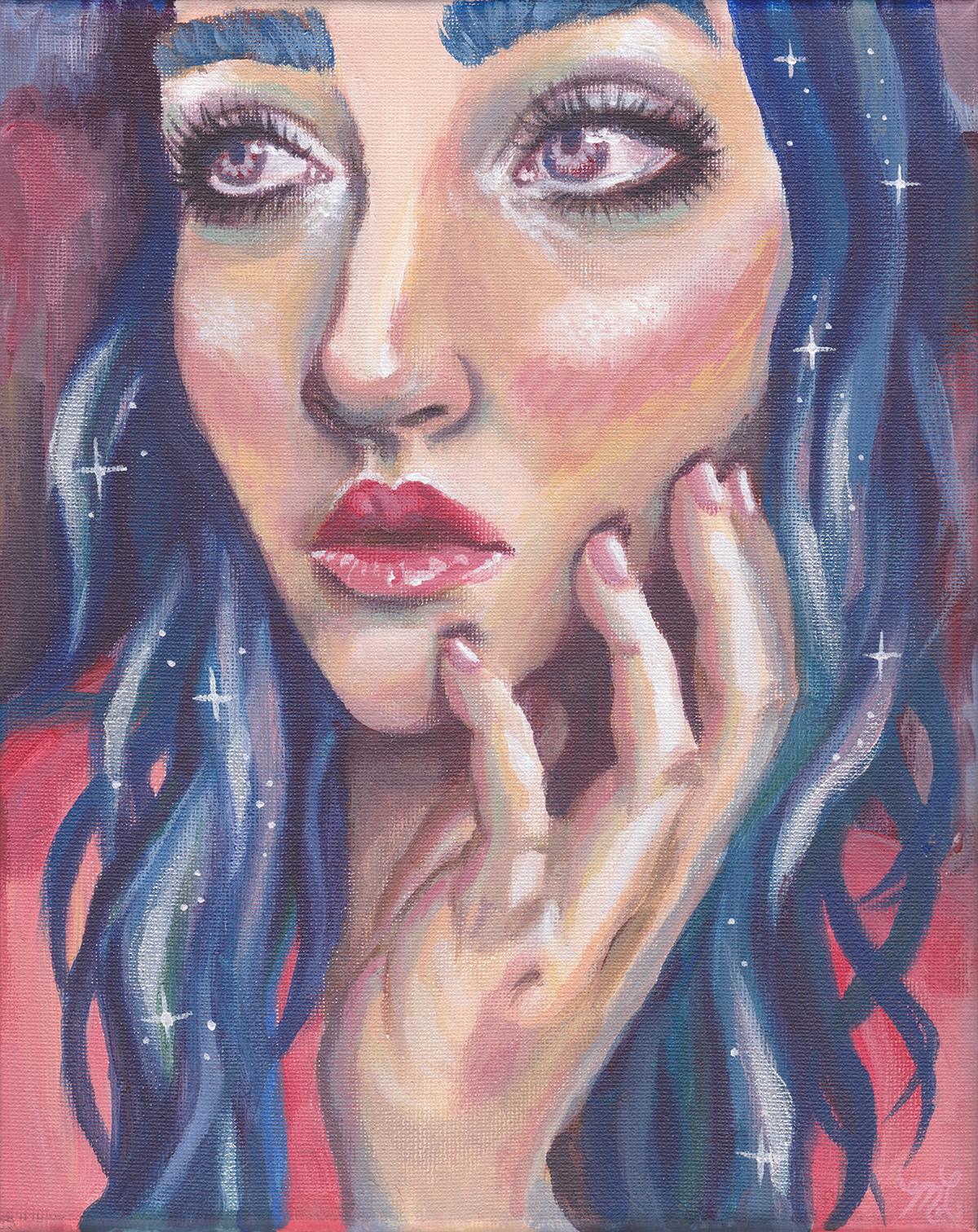 """""""Blue Gaze"""" Acrylic Painting"""