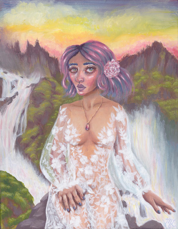 """Cascade Reine"" Acrylic Painting"
