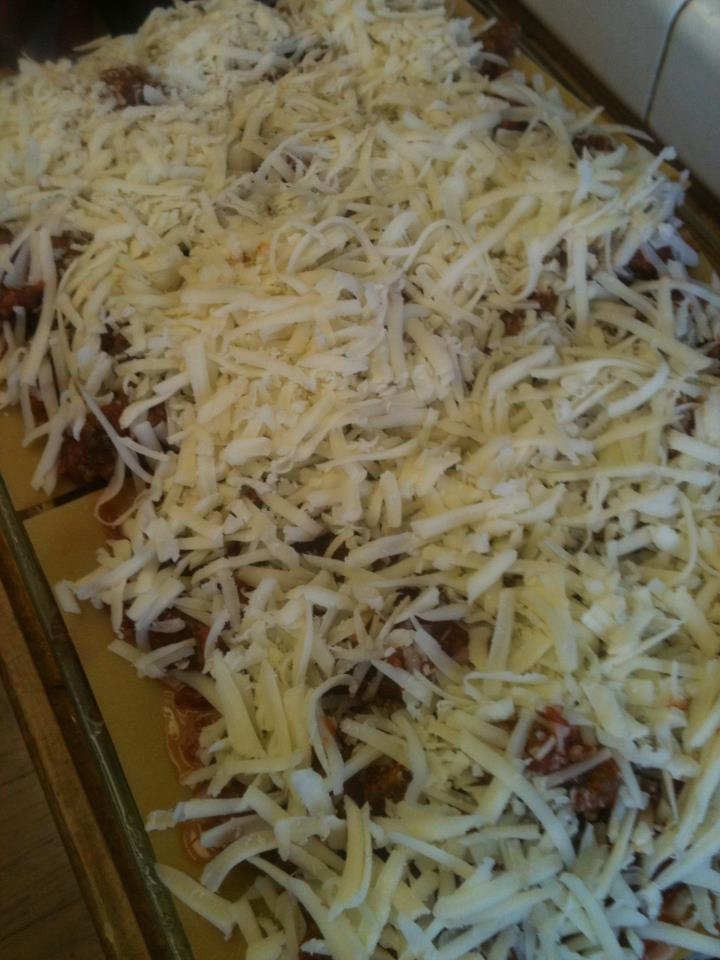 Lasagna with cheese uncooked